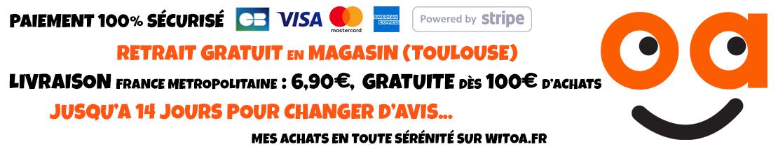 Paiement 100% sécurisé, livraison France métropolitaine : 6,90€, gratuite dès 100€ d'achats, 14 jours pour changer d'avis